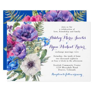 Elegant royal blue and purple wedding theme Invitation templates