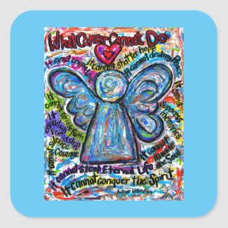 Colorful Angel What Cancer Cannot Do Poem Decal Square Sticker