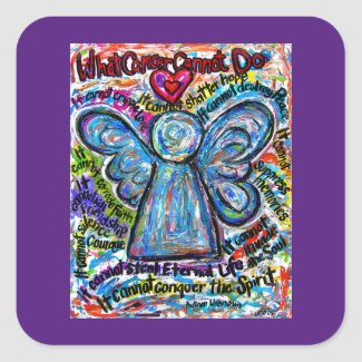 Colorful Angel What Cancer Cannot Do Poem Decals Square Sticker