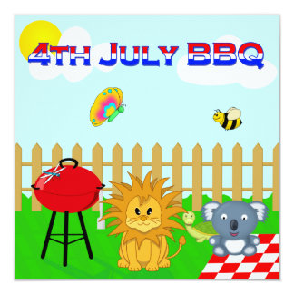 Colorful Animal BBQ Cartoon 4th July Family Party Card