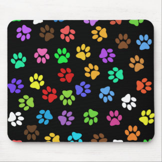 Colorful Animal Footprints Mouse Pad