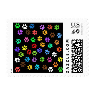 Colorful Animal Footprints Postage Stamp