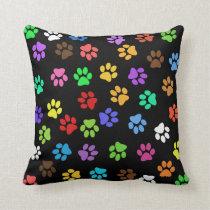 Colorful Animal Footprints Throw Pillow