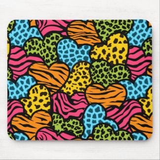 Colorful  animal pattern hearts mouse pad