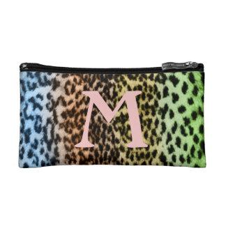 Colorful animal pattern, pink monogram makeup bag