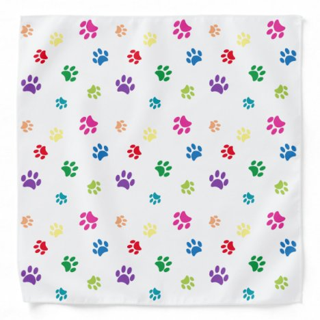 Colorful Animal Paw Prints Bandana