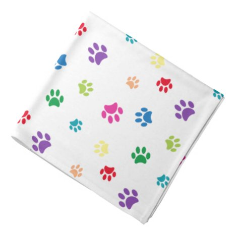 Colorful Animal Paw Prints Bandana