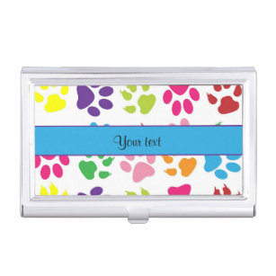 Paw print business card holders cases zazzle colorful animal paw prints business card holder colourmoves