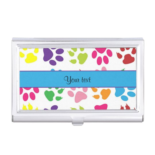 Colorful Animal Paw Prints Business Card Holder