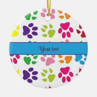 Colorful Animal Paw Prints Ceramic Ornament
