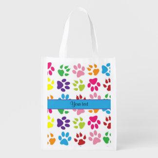 Colorful Animal Paw Prints Grocery Bag
