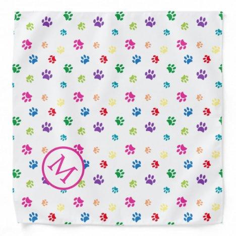 Colorful Animal Paw Prints Monogram Bandana