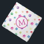 "Colorful Animal Paw Prints Monogram Bandana<br><div class=""desc"">Show how much you love animals with this cute colorful paw patterned bandana. Also looks awesome with a black background. Bet your pet will look adorable wearing it!</div>"