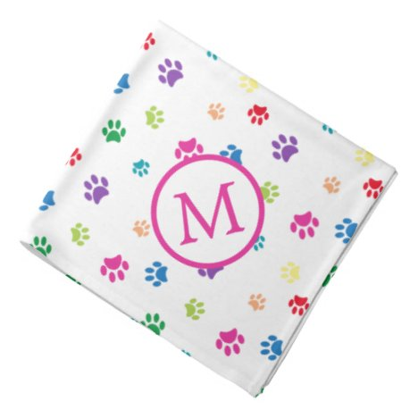 Colorful Animal Paw Prints Monogram Bandana