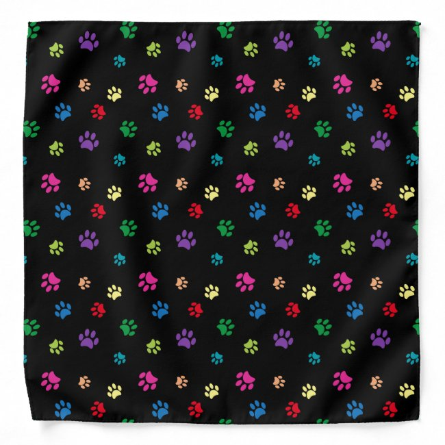 Colorful Animal Paw Prints on Black Bandana