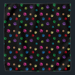"""Colorful Animal Paw Prints on Black Bandana<br><div class=""""desc"""">Show how much you love animals with this cute colorful paw patterned bandana. Also looks awesome with a white background. Bet your pet will look adorable wearing it!</div>"""