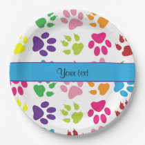 Colorful Animal Paw Prints Paper Plate