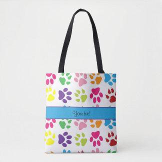 Colorful Animal Paw Prints Tote Bag