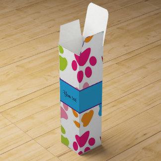 Colorful Animal Paw Prints Wine Box