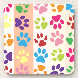 Colorful animal paws pattern drink coaster