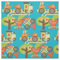 Colorful Animal Train Fabric