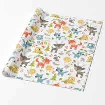 Colorful Animals & Woods Foliage Pattern Wrapping Paper