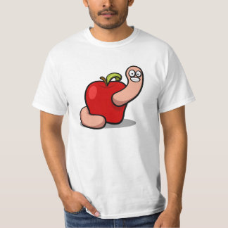 Colorful animated cartoon apple worm illustration T-Shirt