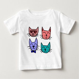 Colorful animated cat portrait illustrations baby T-Shirt