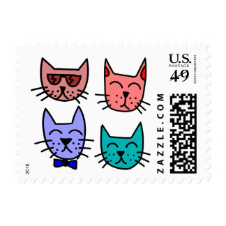 Colorful Animated Cats Postage