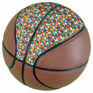 Colorful animated christmas character icon pattern basketball