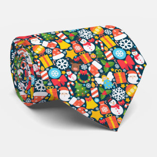 Colorful animated christmas character icon pattern tie