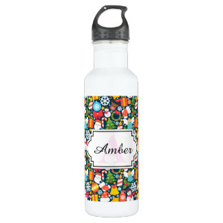 Colorful animated christmas character icon pattern water bottle