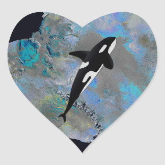 Colorful Antarctica and Orca. Heart Sticker