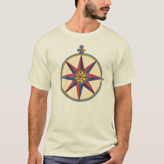 Colorful Antique Compass Rose / Star from an Old M T-Shirt