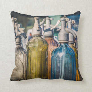 Colorful Antique Water Bottles Throw Pillow