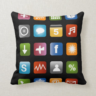 Colorful app icons throw pillow design