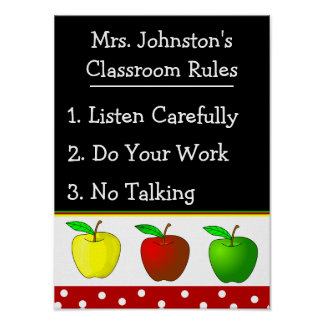 Colorful Apples School Classroom Rules Poster