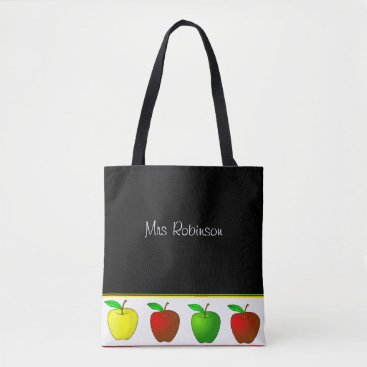 Justforteachers Colorful Apples Teachers Tote Bag
