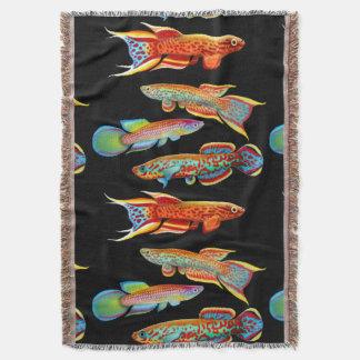 Colorful Aquarium Killifish Throw Blanket
