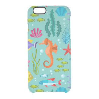 Colorful aquatic life & animals pattern clear iPhone 6/6S case