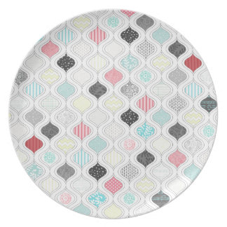 colorful arabic diamond pattern plate