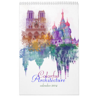 Colorful architecture wall calendar