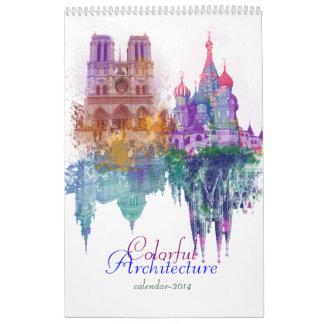 Colorful architecture wall calendar