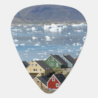 Colorful architecture of the town, Narsaq, Guitar Pick