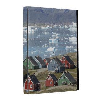 Colorful architecture of the town, Narsaq, iPad Folio Cover