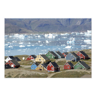 Colorful architecture of the town, Narsaq, Photo Print