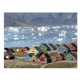 Colorful architecture of the town, Narsaq, Postcard