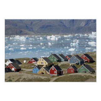 Colorful architecture of the town, Narsaq, Poster