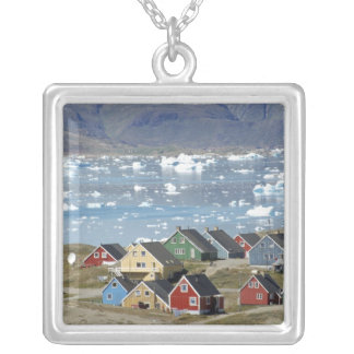 Colorful architecture of the town, Narsaq, Silver Plated Necklace