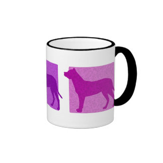 Colorful Argentine Dogo Silhouettes Ringer Coffee Mug